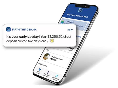 Fifth Third App alert that says early pay