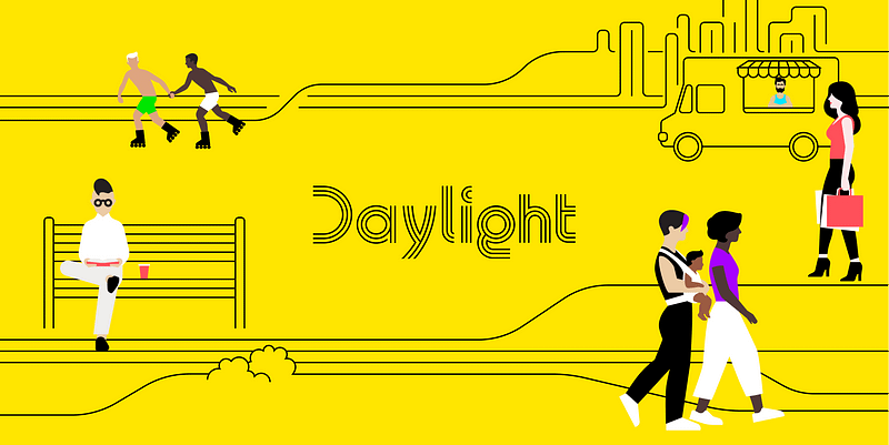 Daylight logo on yellow background with different types of illustrated LGBTQ community members