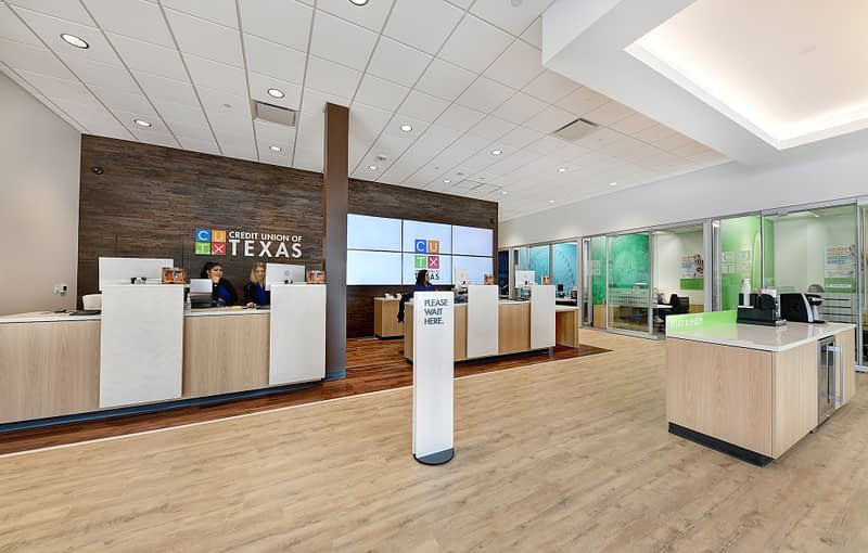 Picture of the inside of a modern bank branch