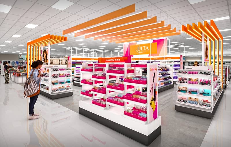 Customer viewing products in Target brand merger with Ulta